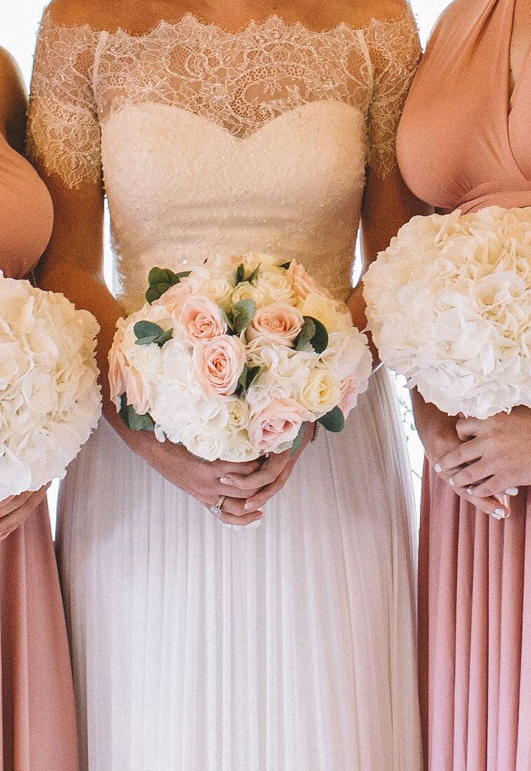 Ivory and blush wedding bouquet, white bridesmaid bouquets