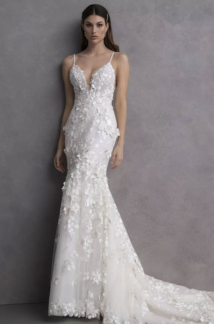 Valentini Spose Spring 2020 Wedding Dresses - Spaghetti straps deep plunging neckline 3D floral applique mermaid Wedding Gown #weddinggown #weddingdress