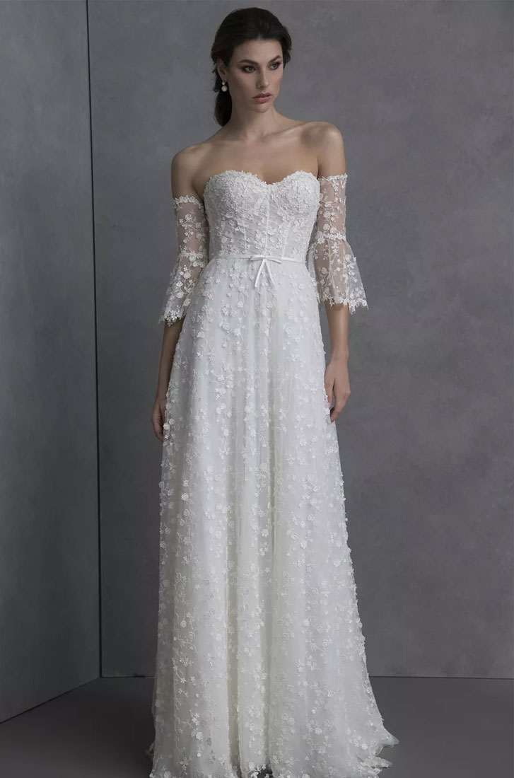 Valentini Spose Spring 2020 Wedding Dresses - Sweetheart neckline floral embroiled sleeveless a-line Wedding Gown