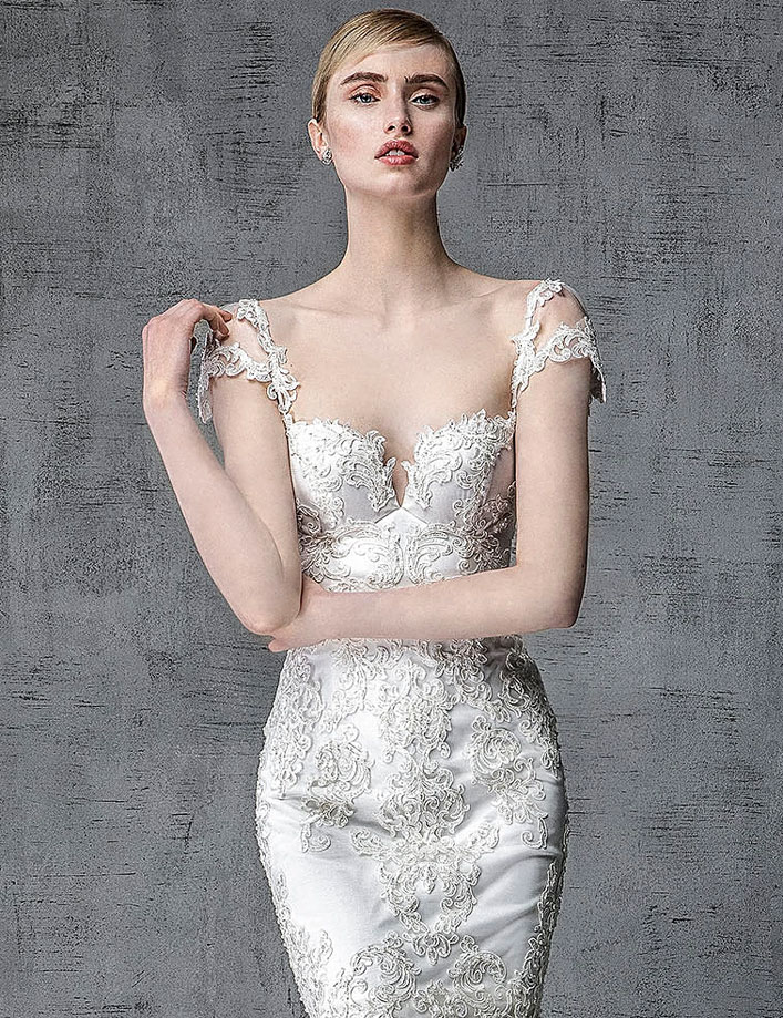 Victoria Kyriakides 2019 bridal collection - Cap sleeve wedding gown, fashion forward silhouettes and embellishment elegant mermaid wedding dress #weddinggown, wedding dress, wedding gown ,bride dress