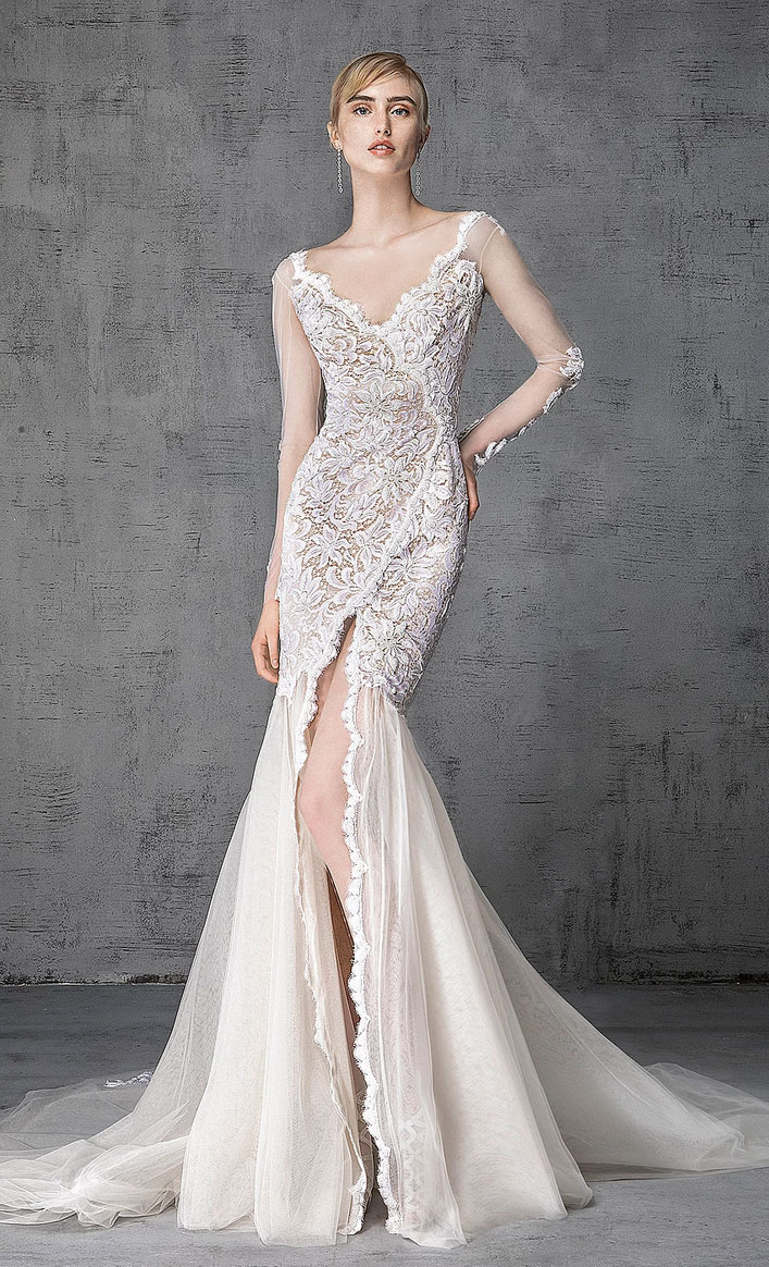 Victoria Kyriakides 2019 bridal collection - long-sleeved wedding gown, fashion forward silhouettes and embellishment elegant mermaid wedding dress #weddinggown, wedding dress, wedding gown ,bride dress