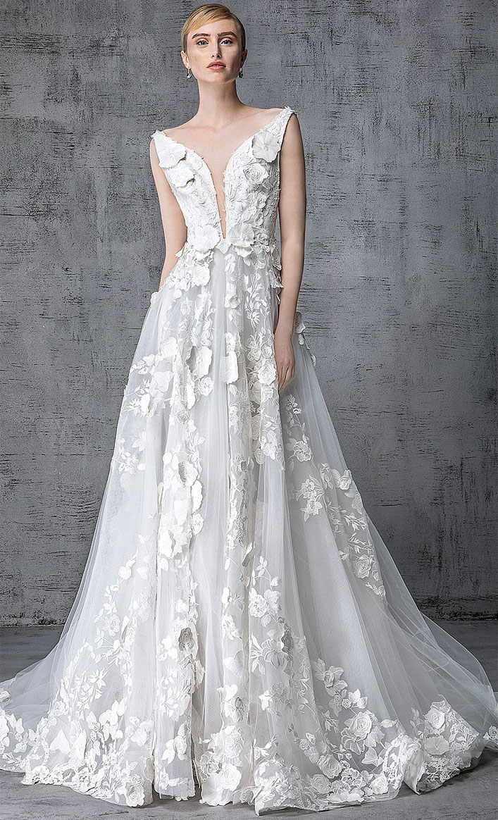 Victoria Kyriakides 2019 bridal collection - deep v plunging neckline sleeveless 3d floral applique a-line wedding gown, fashion forward silhouettes and embellishment elegant mermaid wedding dress #weddinggown, wedding dress, wedding gown ,bride dress