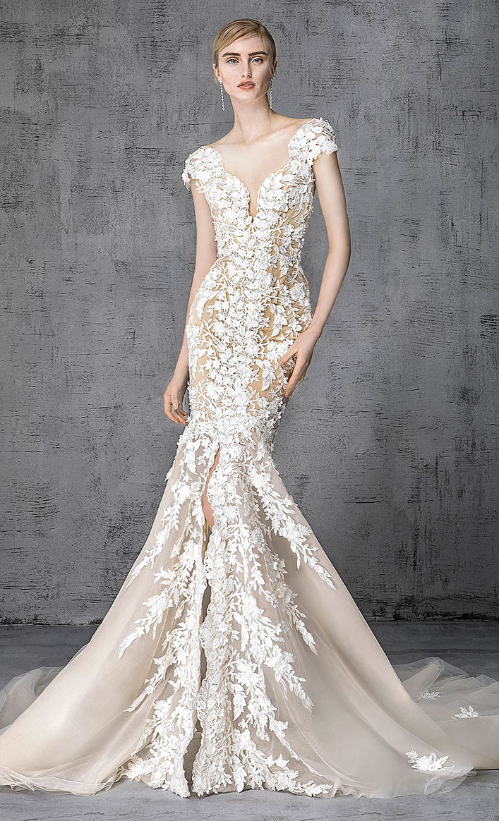 Victoria Kyriakides 2019 bridal collection - Cap sleeve mermaid wedding gown split front, fashion forward silhouettes and embellishment elegant mermaid wedding dress #weddinggown, wedding dress, wedding gown ,bride dress