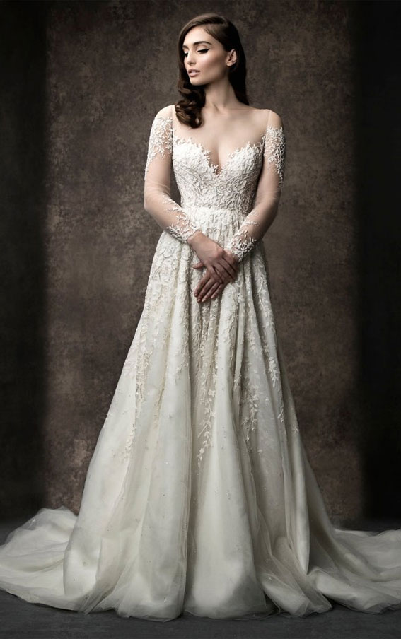 Enaura 2019 Wedding Dresses - A-line gown with off the shoulder illusion neckline and long sleeves #wedding #weddinggown
