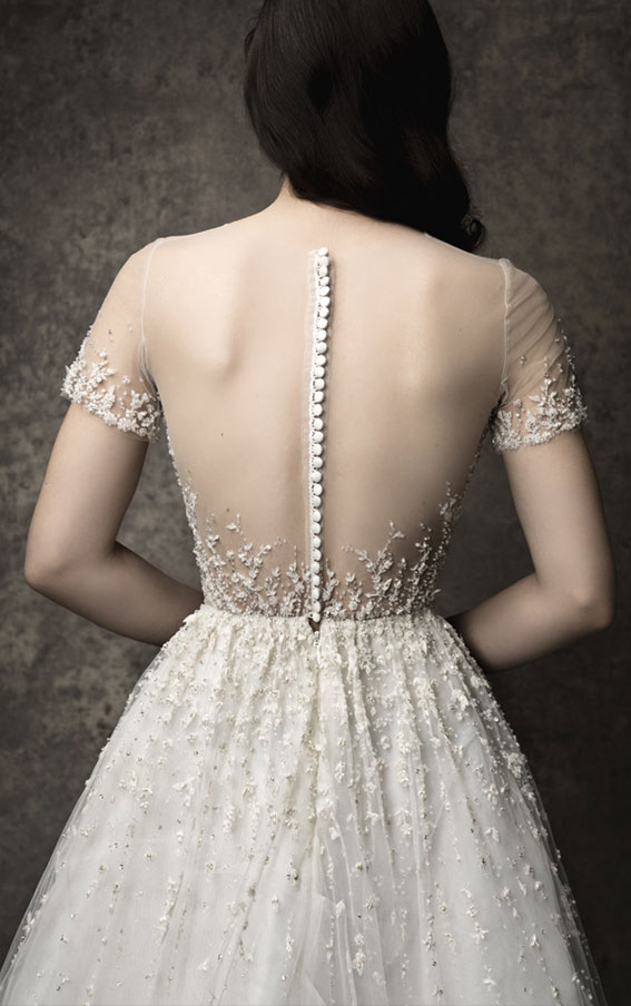 Enaura 2019 Wedding Dresses - Short sleeve illusion neckline with sweetheart lining, bodice lined with Chantilly lace
