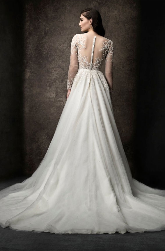 A-line gown with illusion neckline and long sleeves, natural waist. Enaura 2019 Wedding Dresses