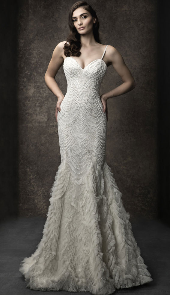Fit and flare with sweetheart neckline and spaghetti straps. Scalloped beading with ruffled skirt - Enaura 2019 Wedding Dresses #weddingdress #wedding wedding gown