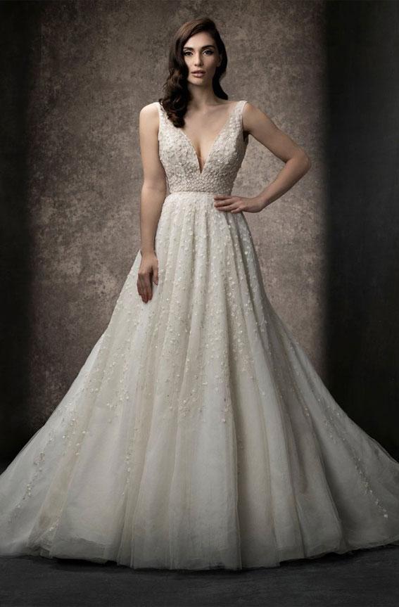 Enaura 2019 Wedding Dresses - A-line gown with deep V neckline #wedding #weddinggown bride dress