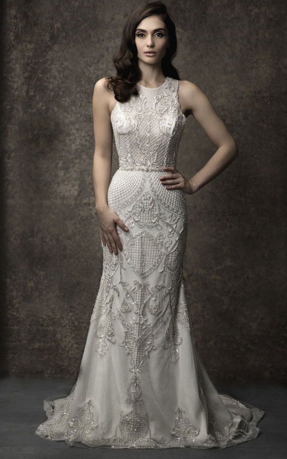 Enaura 2019 Wedding Dresses - Illusion high neckline on a trumpet silhouette #wedding #weddinggown bride dress