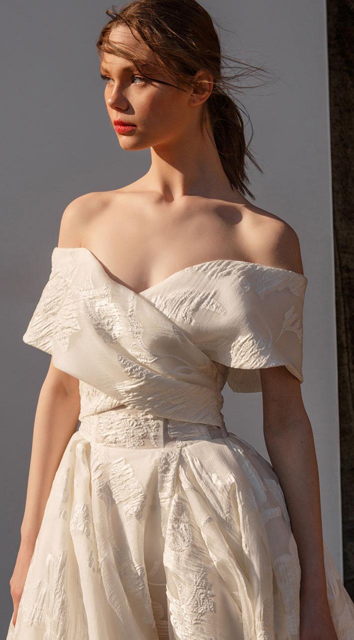 Off the shoulder split front a line wedding dress ,ivory wedding gown - wedding dress, Eva Lendel , wedding gown , wedding dresses, Eva lendel bridal 2019 #wedding #weddingdresses