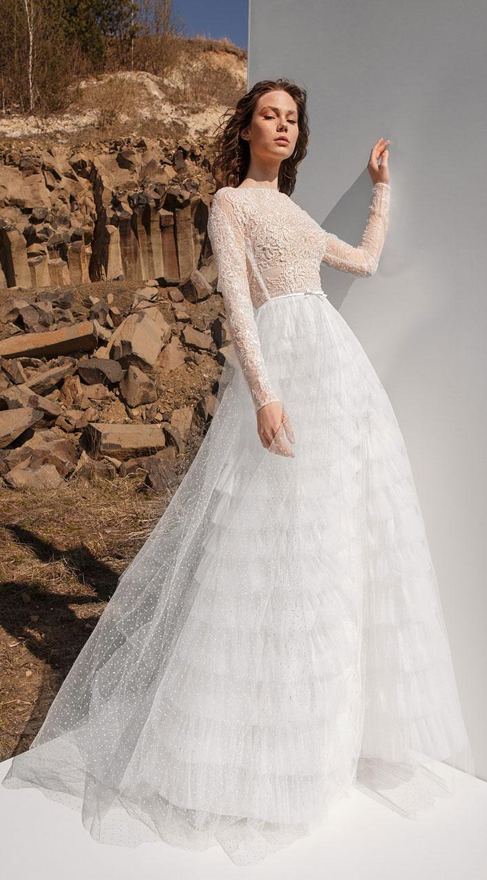 Long sleeve layered skirt a line wedding dress, Eva Lendel , wedding gown , wedding dresses, Eva lendel bridal 2019 #wedding #weddingdresses