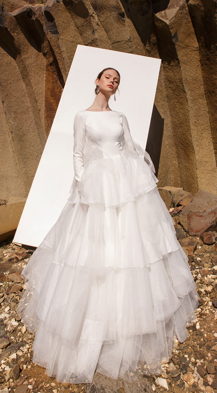 Long sleeve jewel neckline layered tulle skirt wedding gown - wedding dress, Eva Lendel , wedding gown , wedding dresses, Eva lendel bridal 2019 #wedding #weddingdresses