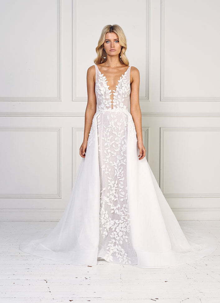 "Sleeveless deep v plunging neckline heavy embellishment sheath wedding dress with removable skirt - Jane Hill Bridal ""Moroccan Rose 19"" Wedding Dresses #weddingdress wedding dress, bridal dress ,bride dress #weddinggown"