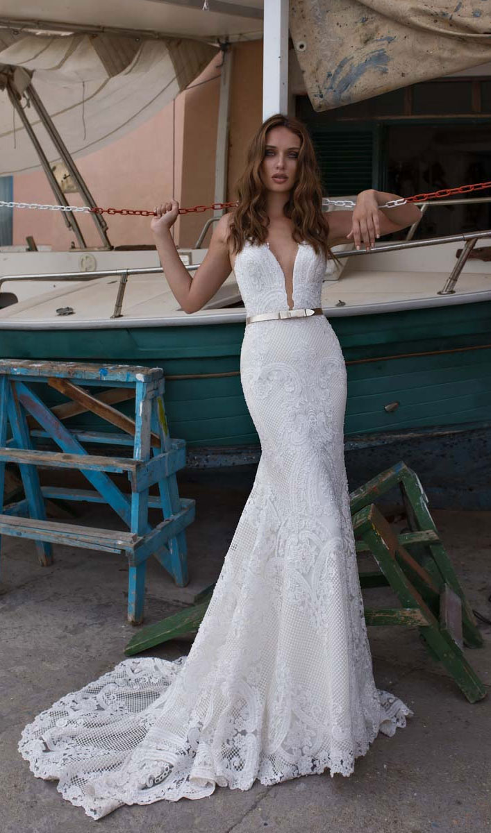 """Amazing sleeveless deep v plunging mermaid wedding dress with belt details the perfect wedding gown for the Diva Bride - Maison Signore Wedding Dresses """"Seduction"""" Bridal Collection #wedding #weddinggown"""
