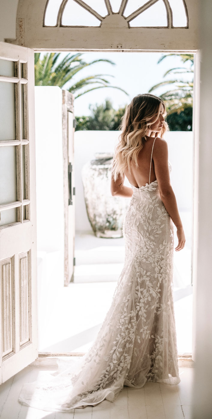"Thin Straps open back - floral applique wedding dress - Jane Hill Bridal ""Moroccan Rose 19"" Wedding Dresses #weddingdress wedding dress, bridal dress ,bride dress #weddinggown"