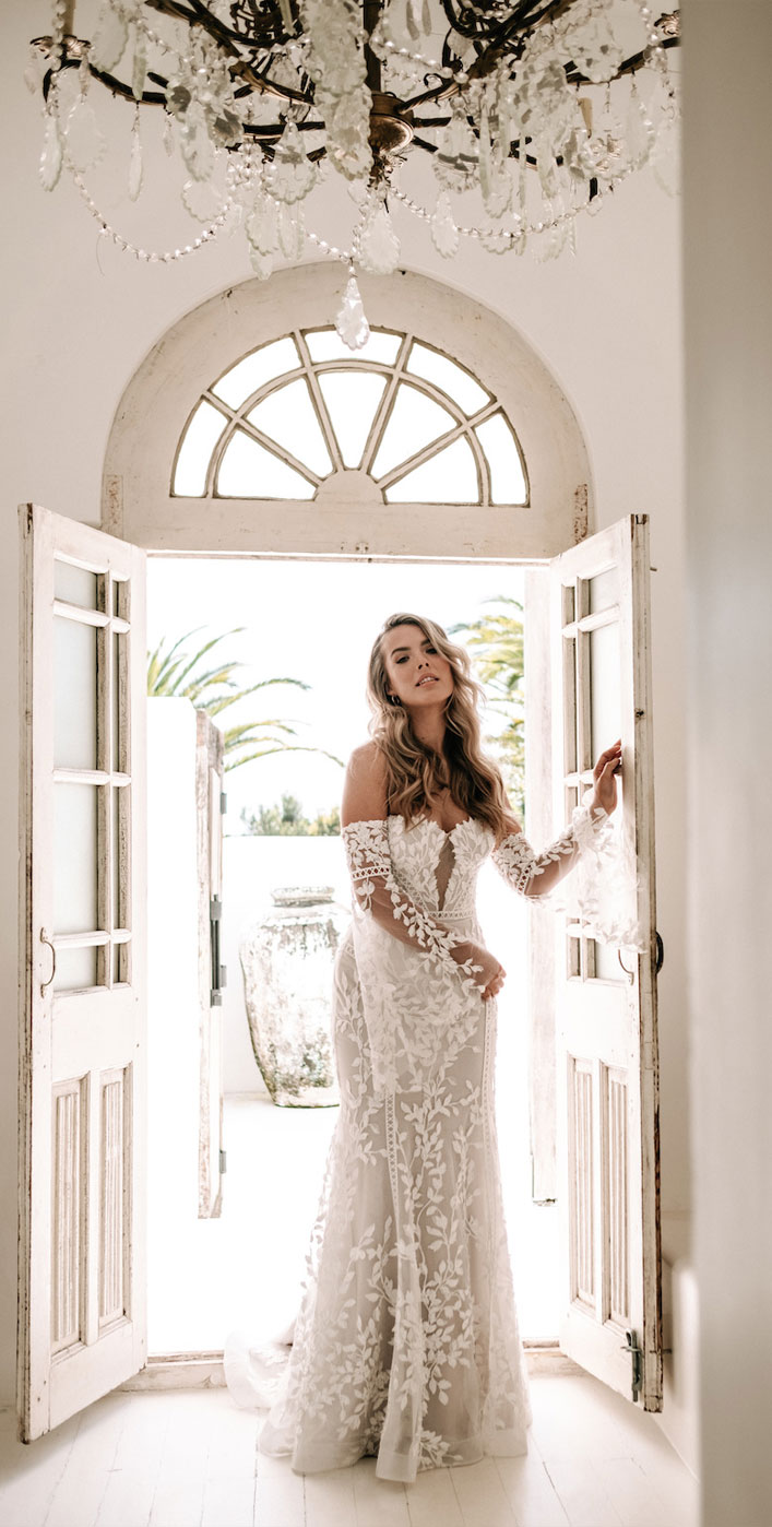 """Sweetheart neckline fit and flare wedding gown with flutter sleeves - Jane Hill Bridal """"Moroccan Rose 19"""" Wedding Dresses #weddingdress wedding dress, bridal dress ,bride dress #weddinggown"""