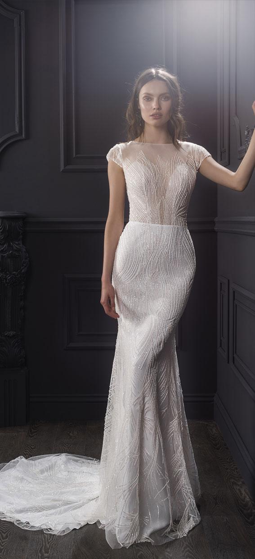 "Short sleeve deep v plunging neckline tulle overlays mermaid wedding dress - - Lihi Hod 2019 Wedding Dresses ""Dreams 2019"" Bridal Collection #weddingdress #weddinggown"