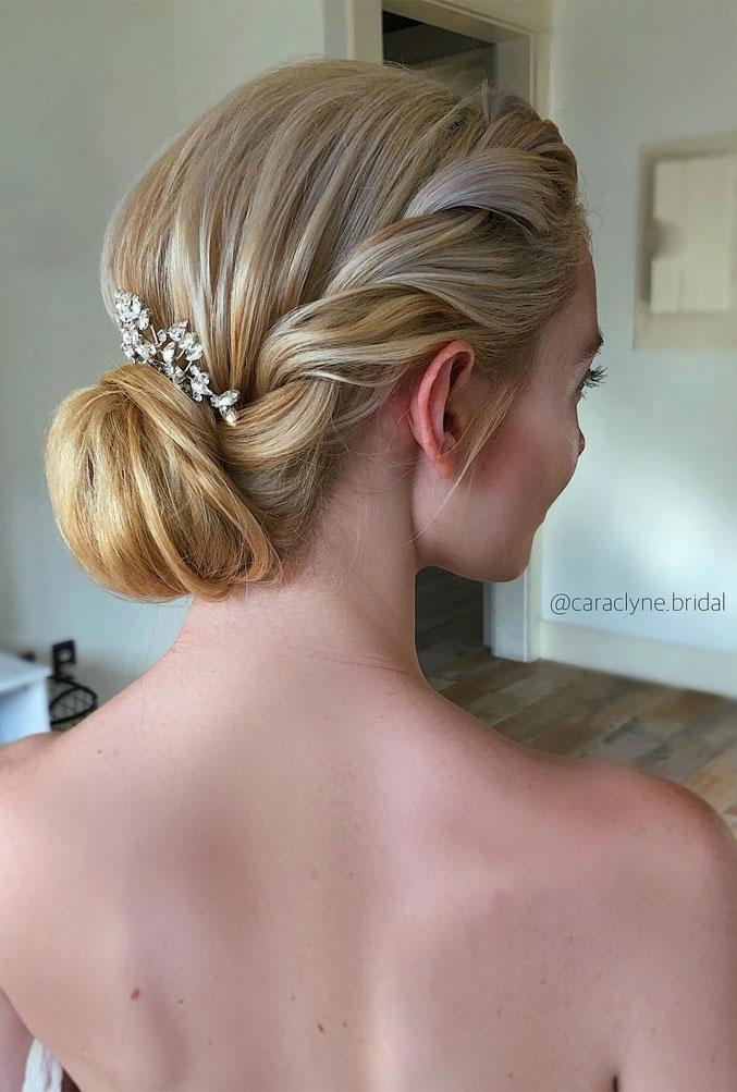 Elegant wedding hairstyles ,side twist + low updo, updo, wedding updo hairstyles,wedding hairstyles ,chignon #hairstyle #weddinghair
