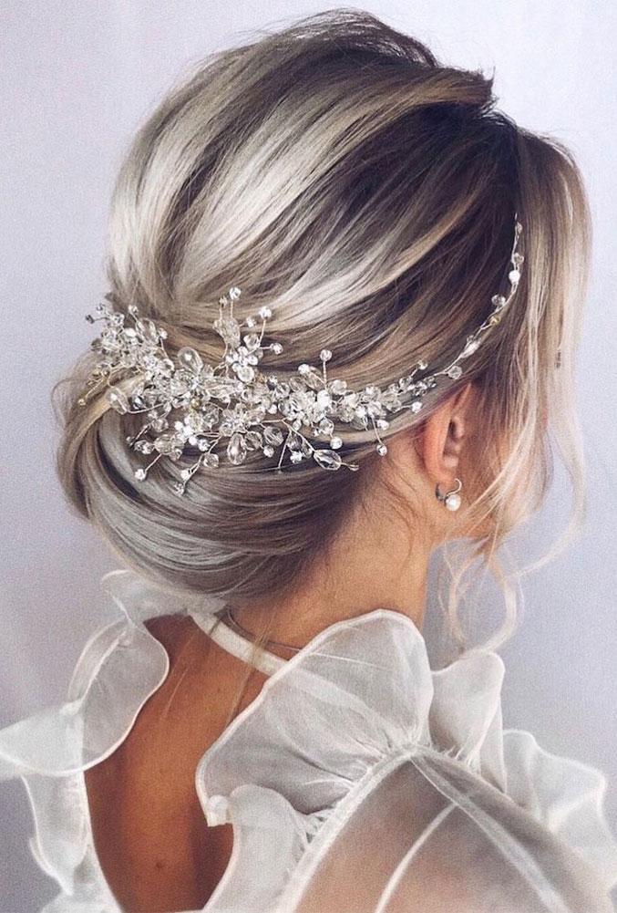 Elegant wedding hairstyles , low updo, updo, wedding updo hairstyles,wedding hairstyles ,chignon #hairstyle #weddinghair