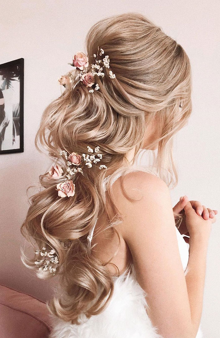 Elegant wedding hairstyles , half up half down hairstyle, updo, wedding updo hairstyles,wedding hairstyles ,chignon #hairstyle #weddinghair