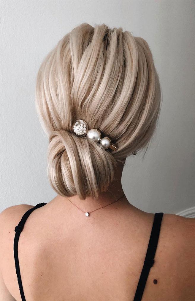 Elegant wedding hairstyles , Twist low updo, updo, wedding updo hairstyles,wedding hairstyles ,chignon #hairstyle #weddinghair