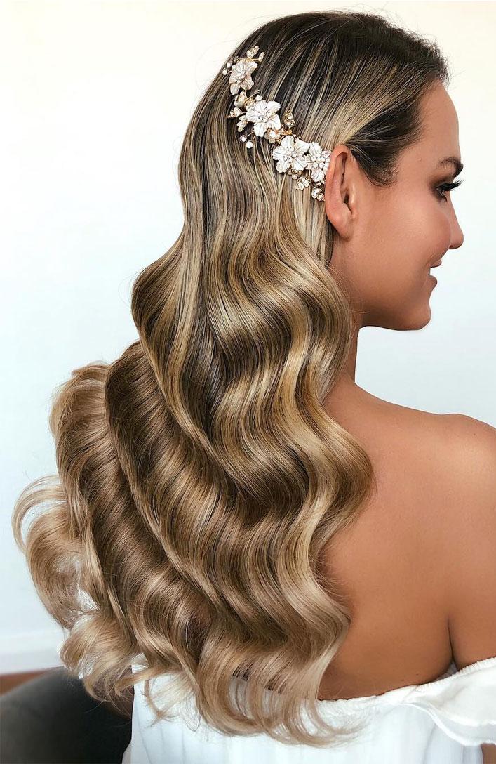 Curly Wavy Long Locks Hair Down Elegant Wedding Hairstyles