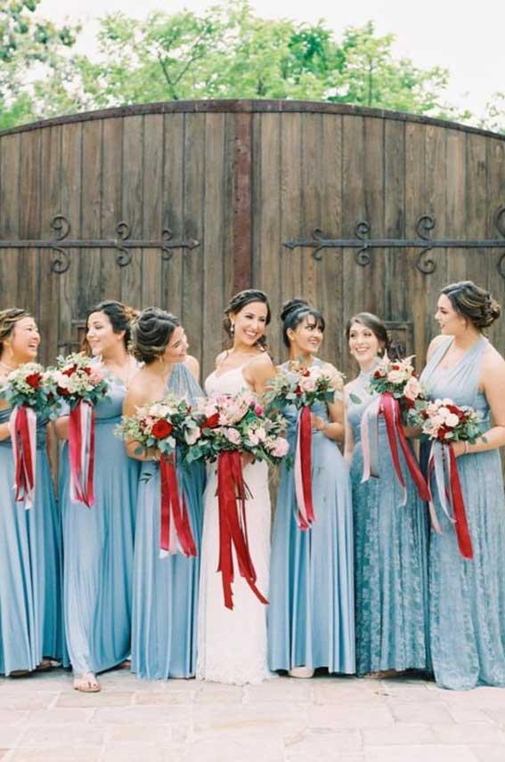 Dusty blue bridesmaid and red bouquet #bridesmaids #dustyblue ine } Autumn & Winter Wedding
