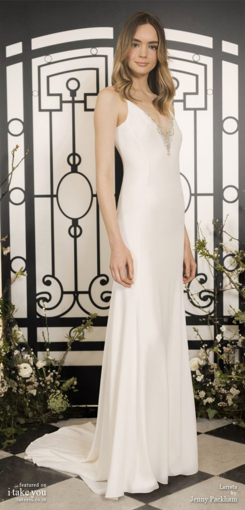 Spring 2020 Bridal Collection by Jenny Packham - Pure elegance v-neck embellishment simple Wedding Dress #weddingdress #weddingdresses #wedding #bridalgown #bridedress