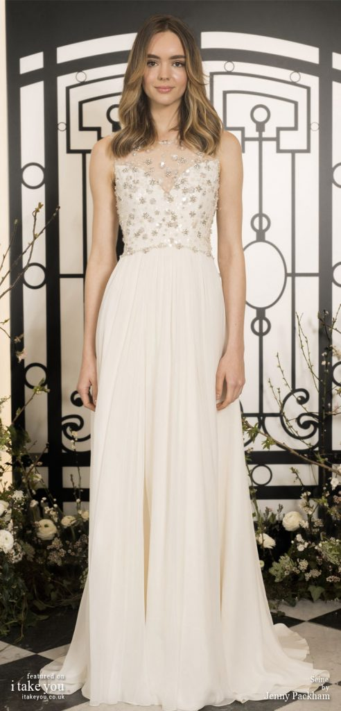 Spring 2020 Bridal Collection by Jenny Packham - Pure elegance sleeveless embellishment bodice a-line Wedding Dress  #weddingdress #weddingdresses #wedding #bridalgown #bridedress