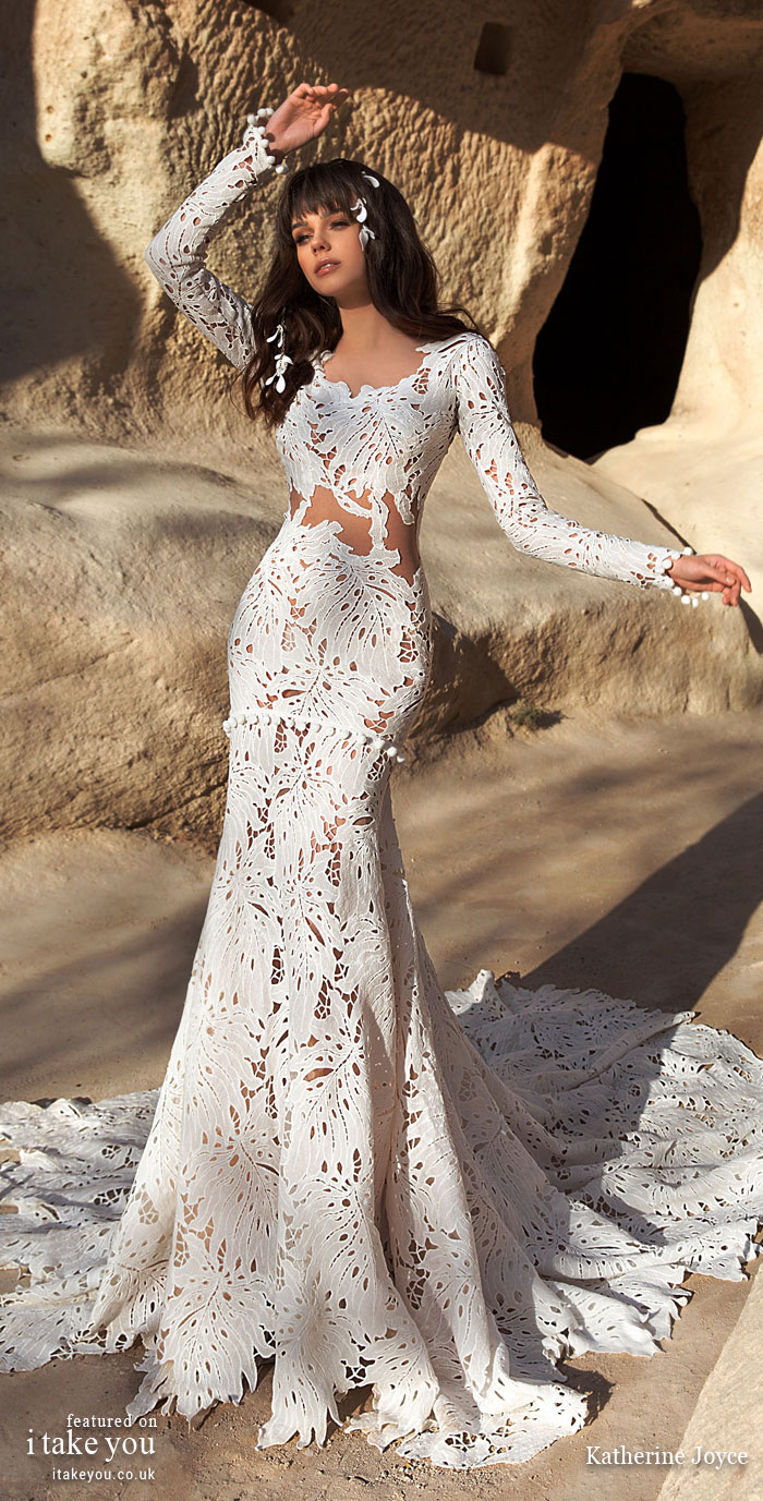 Long sleeve fit and flare wedding dress - Katherine Joyce Wedding Dresses - The Wind Desert Collection