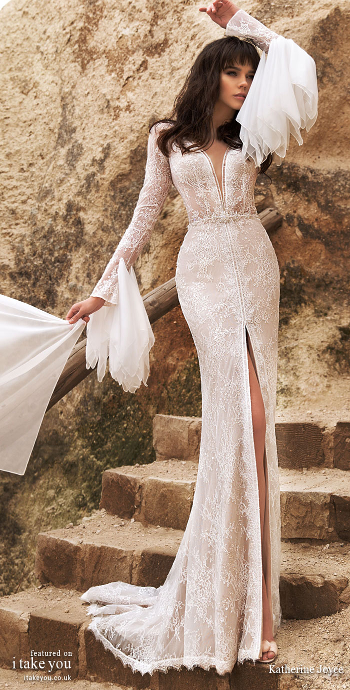 Long sleeve deep v plunging neckline split front fit and flare wedding dress - Katherine Joyce Wedding Dresses - The Wind Desert Collection