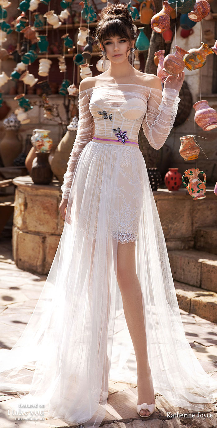 Long sleeve short wedding dress - Katherine Joyce Wedding Dresses - The Wind Desert Collection