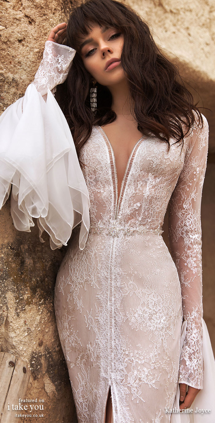 Long sleeve deep v plunging neckline split front fit and flare wedding dress - Wedding Dresses #weddingdress