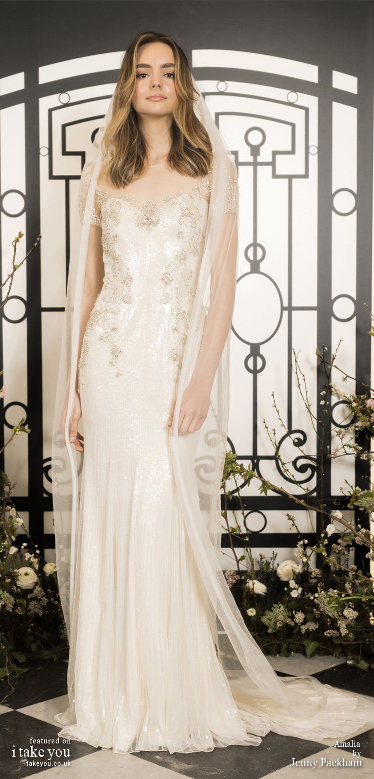 Spring 2020 Bridal Collection by Jenny Packham - Pure elegance short sleeve embellishment Wedding Dress #weddingdress #weddingdresses #wedding #bridalgown #bridedress