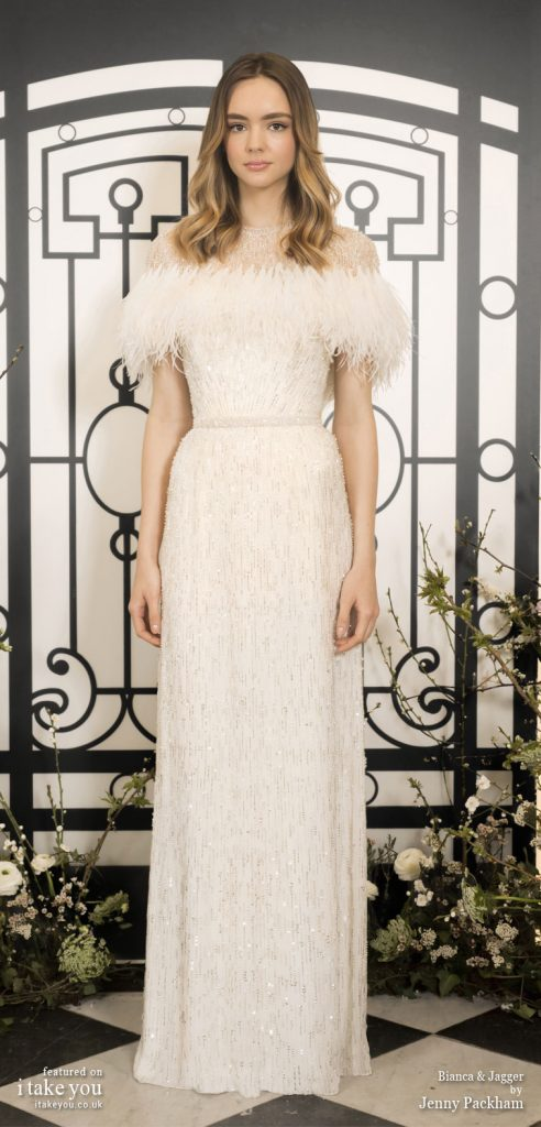 Spring 2020 Bridal Collection by Jenny Packham - Pure elegance sleeveless Wedding Dress with feather top #weddingdress #weddingdresses #wedding #bridalgown #bridedress