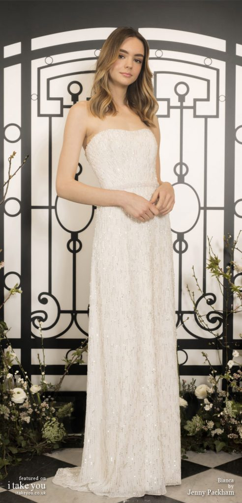 Spring 2020 Bridal Collection by Jenny Packham - Pure elegance sleeveless Sheath Wedding Dress #weddingdress #weddingdresses #wedding #bridalgown #bridedress