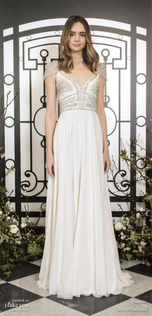 Spring 2020 Bridal Collection by Jenny Packham - Pure elegance short sleeve embellishment bodice a-line Wedding Dress #weddingdress #weddingdresses #wedding #bridalgown #bridedress
