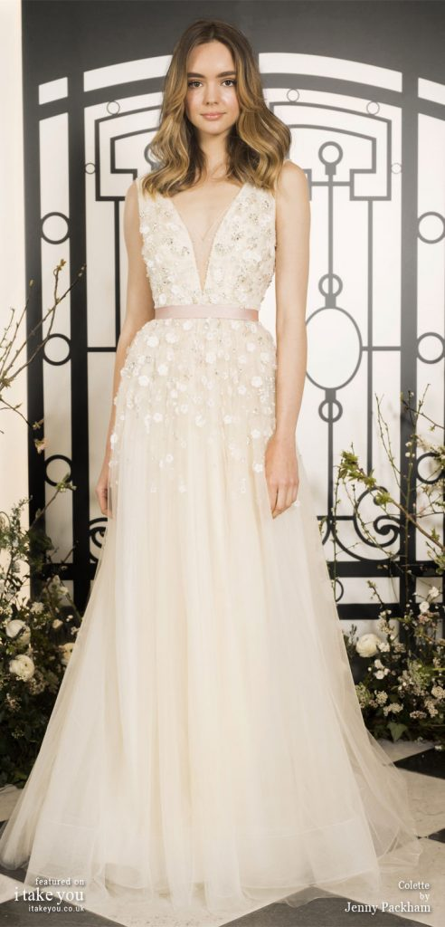 Spring 2020 Bridal Collection by Jenny Packham - Pure elegance sleeveless 3d floral applique embellishment bodice a-line Wedding Dress #weddingdress #weddingdresses #wedding #bridalgown #bridedress