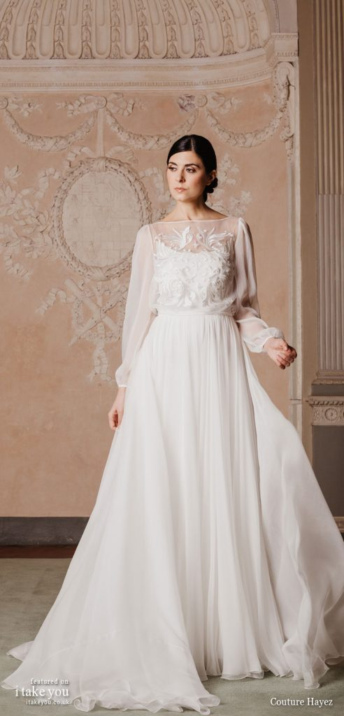 """Couture Hayez 2020 Wedding Dresses — """"High Society"""" Bridal Collection - long sleeve embellished bodice a line wedding dress #weddingdress #weddinggown #wedding #fashion #bridedress #bride #bridal #weddings #weddingdresses"""