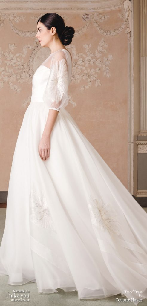 Couture Hayez 2020 bridal collection - embellished short sleeve sheer top straight cut princess wedding dress #weddingdress #weddinggown #wedding #fashion #bridedress #bride #bridal #weddings #weddingdresses