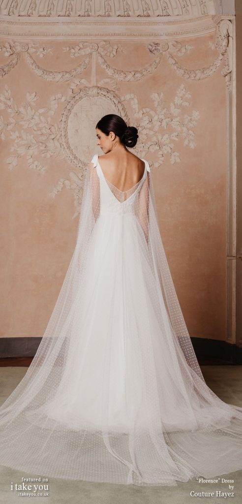Couture Hayez 2020 bridal collection  - sleeveless thick straps with bow details semi sweetheart embellished bodice sheer cape polka dot skirt a line wedding dress with chapel train #weddingdress #weddinggown #wedding #fashion #bridedress #bride #bridal #weddings #weddingdresses