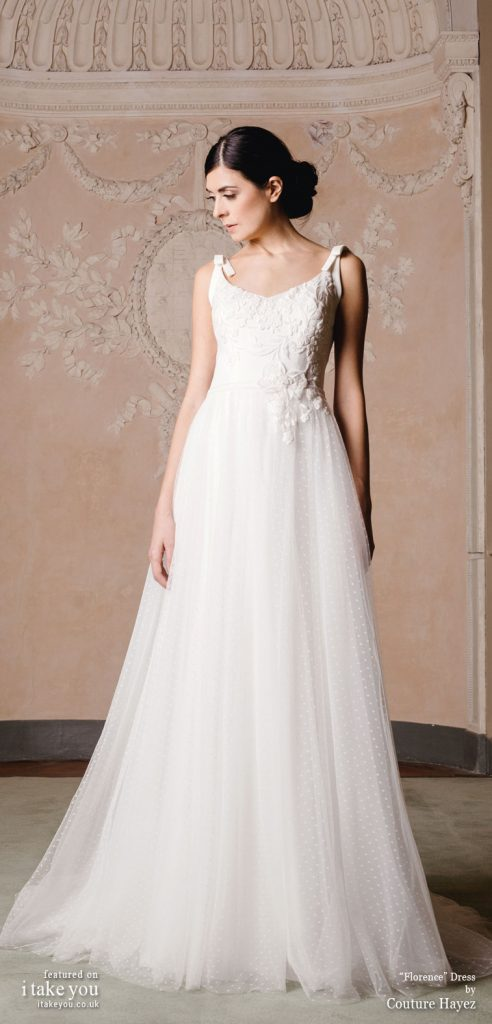Couture Hayez 2020 bridal collection - sleeveless thick straps with bow details semi sweetheart embellished polka dot skirt a line wedding dress with chapel train #weddingdress #weddinggown #wedding #fashion #bridedress #bride #bridal #weddings #weddingdresses