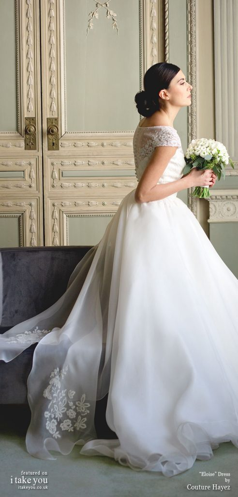 Couture Hayez 2020 bridal collection - short sleeveboat neck sheer neckline bodice ball gown a line wedding dress #weddingdress #weddinggown #wedding #fashion #bridedress #bride #bridal #weddings #weddingdresses