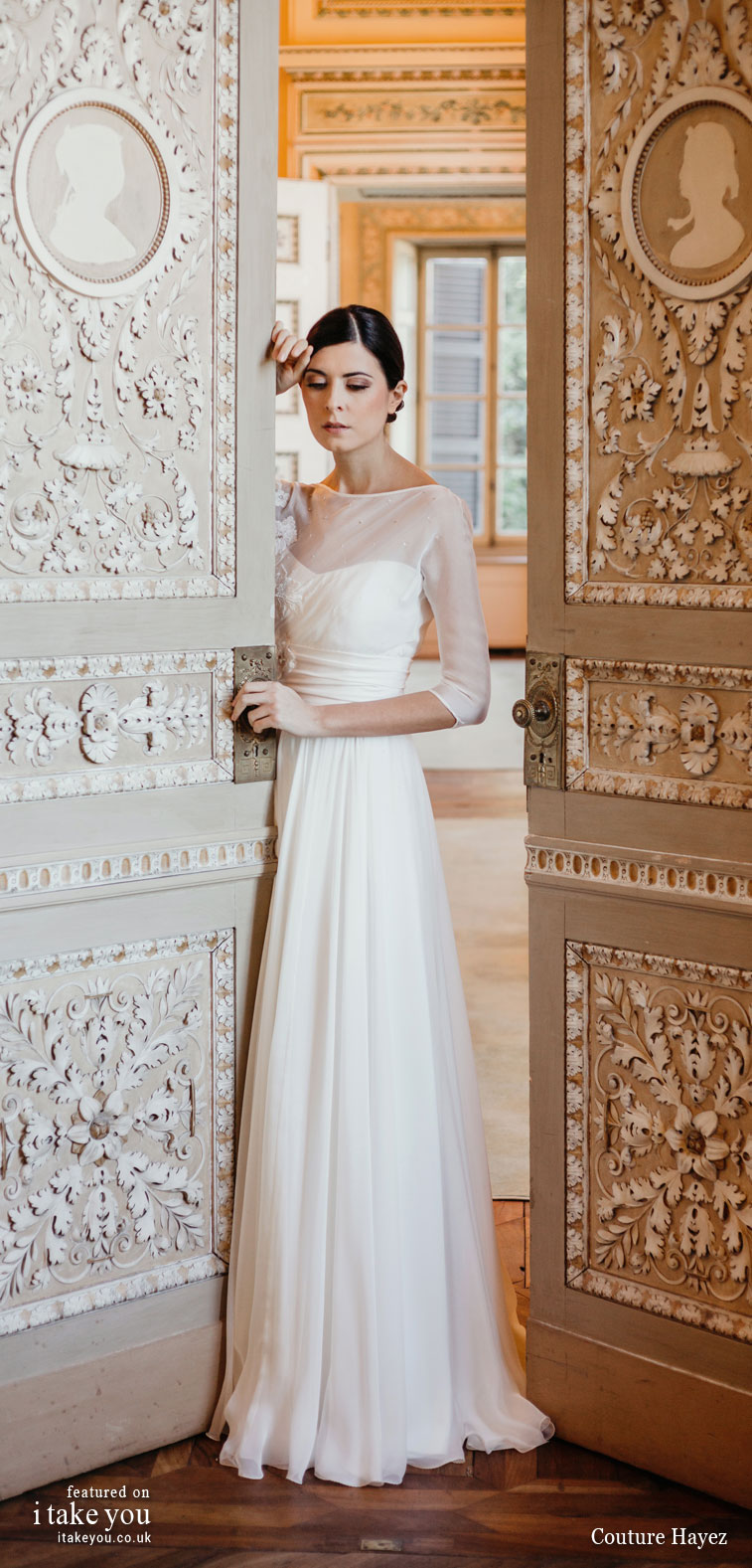Couture Hayez 2020 bridal collection - long sleeve embellished bodice a line wedding dress #weddingdress #weddinggown #wedding #fashion #bridedress #bride #bridal #weddings #weddingdresses