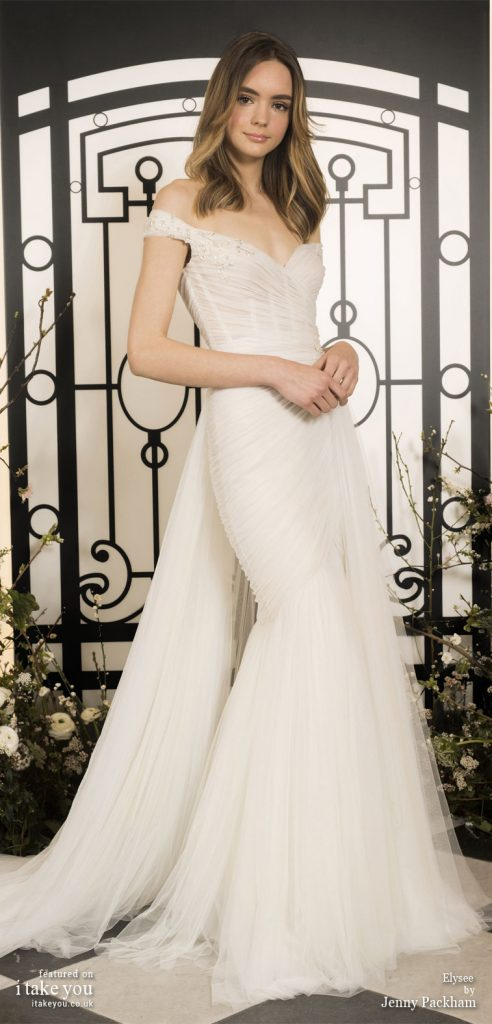 Spring 2020 Bridal Collection by Jenny Packham - Pure elegance off the shoulder mermaid Wedding Dress with train #weddingdress #weddingdresses #wedding #bridalgown #bridedress