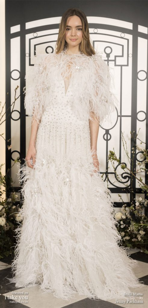 Spring 2020 Bridal Collection by Jenny Packham - Pure elegance embellishment Wedding Dress with cape feather #weddingdress #weddingdresses #wedding #bridalgown #bridedress
