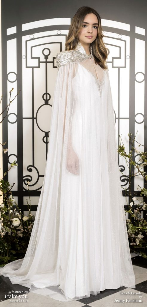 Spring 2020 Bridal Collection by Jenny Packham - Pure elegance v-neck embellishment simple Wedding Dress with cape  #weddingdress #weddingdresses #wedding #bridalgown #bridedress