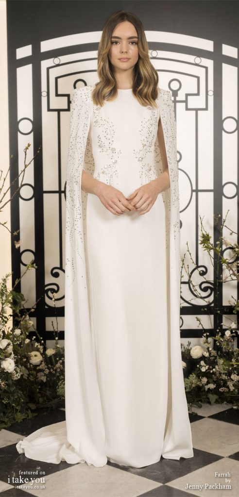 Spring 2020 Bridal Collection by Jenny Packham - Pure elegance embellishment simple Wedding Dress with cape  #weddingdress #weddingdresses #wedding #bridalgown #bridedress
