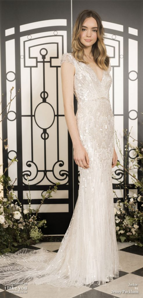 Spring 2020 Bridal Collection by Jenny Packham - Pure elegance short sleeve embellishment fit and flare Wedding Dress with train  #weddingdress #weddingdresses #wedding #bridalgown #bridedress