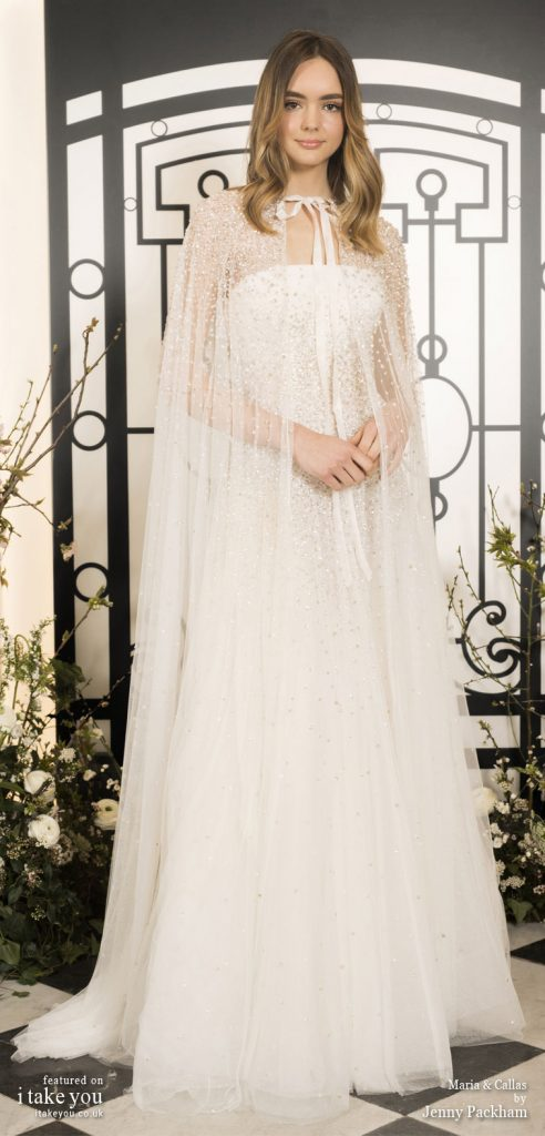 Spring 2020 Bridal Collection by Jenny Packham - Pure elegance sleeveless embellishment bodice a-lineWedding Dress with embellishment cape #weddingdress #weddingdresses #wedding #bridalgown #bridedress